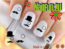 "RTG Set#578 IMAGE ""Tophat Monocle"" WaterSlide Decals Nail Art Transfers Salon"