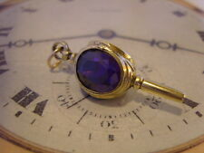 LOVELY VICTORIAN STYLE GILT & AMETHYST STONE SET POCKET WATCH CHAIN 'KEY' FOB.