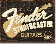 """16"""" X 12.5"""" TIN SIGN FENDER STRATOCASTER GUITARS 60TH METAL SIGN NEW"""