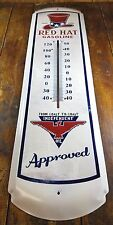 RED HAT GASOLINE COAST TO COAST INDEPENDENT OIL METAL ADVERTISING THERMOMETER