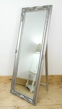 """Isabella Silver Shabby Chic Full Length Antique Cheval Mirror 60"""" x 22"""" X Large"""