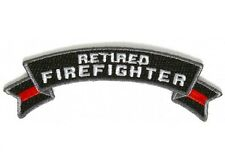 """(D8) RETIRED FIREFIGHTER 4"""" x 1.5"""" iron on Rocker patch (5487) Red Line"""