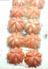 Antique Undyed not dyed Carved Coral Mini Button FLOWER Stone 2/set  #EST840