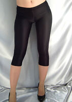 SHORT BLACK SHINY OPAQUE THIN SPANDEX LEGGINGS MF510 XS-XXXL Tall