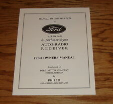 1934 Ford Radio Owners Operators Manual 34 Instruction Book