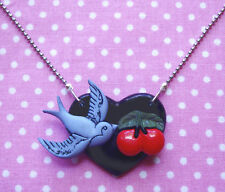 BLUE SWALLOW CHERRIES BLACK HEART NECKLACE ROCKABILLY