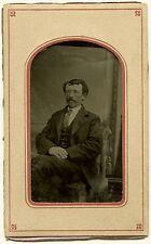 Original-Ferrotypie. Locken und Kravattennadel um 1880