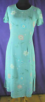 Vintage LAURA ASHLEY Floral Midi Tea Dress UK8/EU34 S Turquoise Blue 1980s 1990s