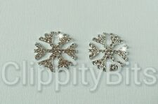 2 x SNOWFLAKE LARGE CRYSTAL RHINESTONE BLINGS FLATBACKS HAIR BOWS TIARAS CENTRES
