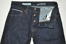 Gap 1969 Men's Dark Blue Raw SELVAGE Denim Slim Jeans 29X28 GREAT CONDITION