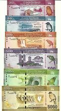 SRI LANKA SET 20 50 100 500 1000 5000 RUPEES 2010 SAME SERIAL# IN ALBUM UNC