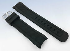 22mm BLACK Silicone Rubber Band WATCH Strap with CURVED Ends