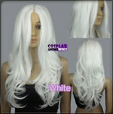 60cm White Heat Styleable No Bang Curly wavy Cosplay Wigs 38_101