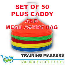 50 DISC MARKERS TRAINING CONES FOOTBALL SOCCER RUGBY AFL TOUCH GROUP FITNESS