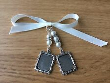 Bridal Bouquet Double Photo Frame Memory Charm Wedding Handmade Swarovski Beads