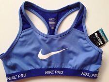 NIKE PRO GIRLS SPORTS BRA 13 - 15 YR 156- 166 cms Dance Cycling Cardio Blue BNWT