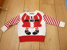 HONOUR AND PRIDE RED WHITE FATHER CHRISTMAS FUN STRIPED JUMPER 3 6 MONTHS BNWT
