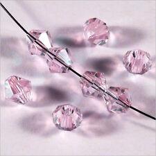 30 Perles Tchèques Toupies en Cristal 6mm Rose Clair