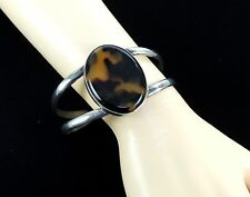 Vintage Solid 925 Sterling Silver CUFF Bracelet Signed Mexico Cuff Oval Stone