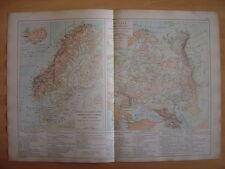 CARTE physique Etats Scandinaves Danemark Suède Norvège RUSSIE Relief production