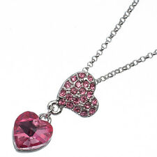 4.58 Ct Heart Cut Style Shape Pink Sapphire 18K White Gold Plated Pendant