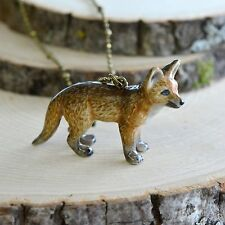 Hand Painted Porcelain Red Fox Necklace Antique Bronze Chain Ceramic Animal