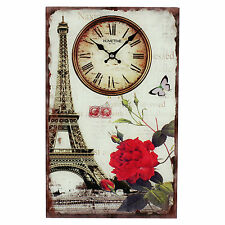 Hometime Glass Wall Clock Plaque Paris Eiffel Tower