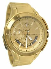 BRAND NEW MENS ARMANI EXCHANGE A|X (AX1407) GOLD TONE STAINLESS STEEL WATCH