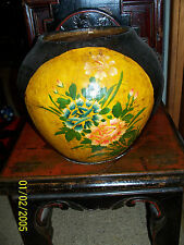 RARE decorative Chinese Antique Timber Bamboo &  Paper Mache Painted Pot
