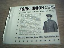 ephemera 1951 advert small fork union military academy