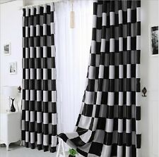 Modern Black & White Grid Double Jacquard Living Room Office Curtain Blockout