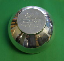 Birks Sterling  Bowl Canadian Pacific Railway presented to Vice president 1957