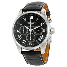 Longines Master Collection Black Dial Black Leather Stainless Steel Automatic
