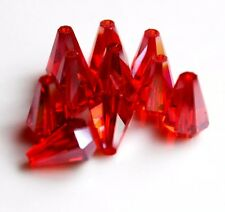 Lovely 10pcs 10x14mm Faceted cone body glass crystal Loose Spacer beads ruby