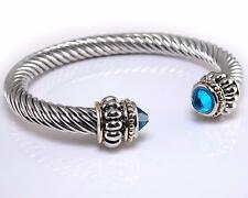 Designer Inspired Silver Gold Turquoise Blue CZ Crystal Rope Cuff Bracelet