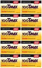 10 Rolls Kodak T-MAX 100 35mm Film TMX 135-36 B&W Black & White Negative FRESH