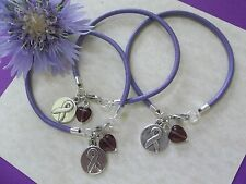 3 PANCREATIC CANCER/ALZHEIMER'S DISEASE AWARENESS LEATHER CHARM BRACELETS