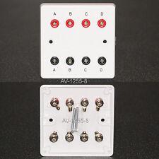 AV Wall Plate, 8 x 4mm 'Banana' Audio Speaker Sockets, 4 Left/Right connectors