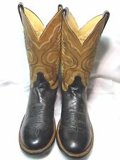 Justin Mens  Cowboy Boots  Size 10 D Black Leather   #118  NS@