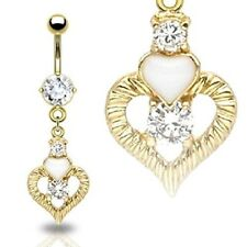 GOLD Plated Jeweled Hearts Dangle BELLY Button NAVEL RINGS Body Piercing Jewelry