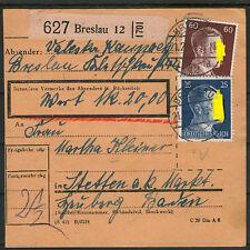 PAKETKARTE Deutsches Reich BRESLAU Wrocław STETTEN am kalten Markt 1944 gelaufen