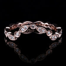 14K Rose Gold Eternity Certified Natural Diamonds Antique Band Ring Fine Jewelry