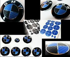 BLUE & BLACK CARBON FIBER Complete Set Vinyl Sticker Overlay All BMW Emblems