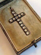 Wonderful Antique Victorian Rose Diamond Set Cross In Original Fitted Case