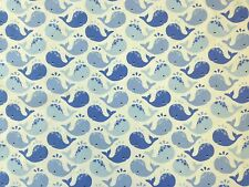 MICHAEL MILLER 100% BRUSHED COTTON WINKY WHALES BLUE SOFT CRAFT DRESS FABRIC