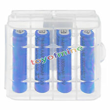 4x3A AAA 1800mah NiMH 1.2v Blue Rechargeable Battery +1x Plastic case