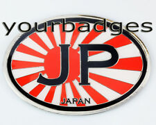 Enamel Chrome Japan Rising Sun JP Oval Car Badge Mazda Nissan