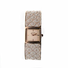 Monsoon Crystal Set Rose Gold Plated Square Dial Bangle Ladies Watch Amo4039