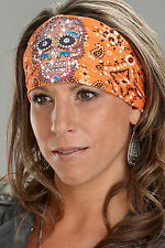 Harley-Davidson® Orange Knotty Band Rhinestone Bandana Hair Head-wrap KB1538