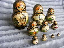 """10 pcs """"Church"""" Signed Russian Nesting Dolls Matryoshka not Sergiyev Posad"""